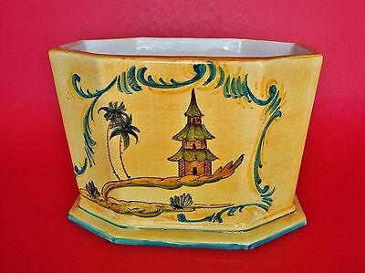 Vintage Italian Nicely Glazed Hand-Painted Ceramic Planter