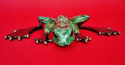 "7 3/8""W x 4 1/4""L 1 1/2""H  Beautifully Colored Enameled Porcelain Frog Figurine"