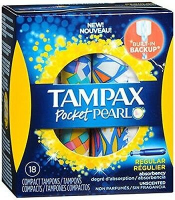 Tampax Pocket Pearl Compact, Unscented, Regular Absorbency Tampons, 18 Count