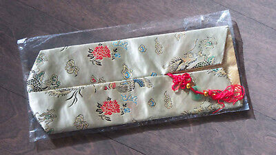 Wine Bottle Gift Cover Chinese Pattern Silk Like Fabric Gold Red Tassel