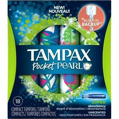 Tampax Pocket Pearl Compact, Unscented, Super Absorbency Tampons, 18 Count