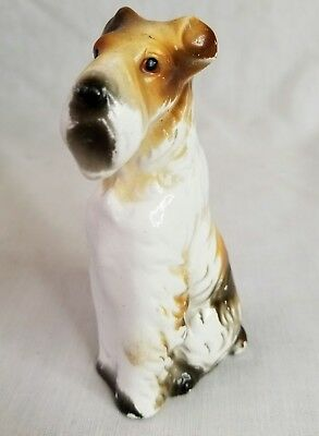 Vintage Mid-Century Wire Hair Fox Terrier Porcelain Dog Figurine White Tan 4.75""