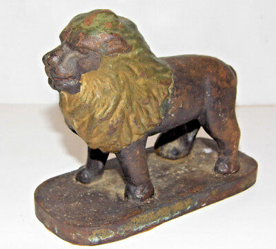 """Antique Cast Iron Lion On Stand 4 1/4"""" Tall Right Side Tail"""