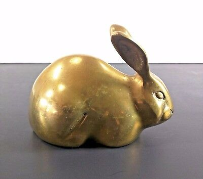 Brass Long Eared Bunny Rabbit Figurine Korea Vintage Mid Century MCM Shiny Decor