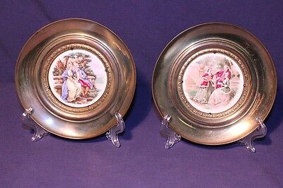 Pair of Brass Wall Hanging Plates w/ Art on Bone China Inlays ~ SIGNED