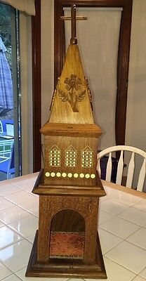 Vintage Sheeshamwood Intricate Hand Carved Church White Inlay Gorgeous!