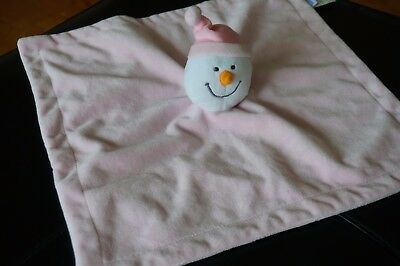 SECURITY Blanket BABIES R Us Pink White Snowman Lovey Plush Doll Toys Girls