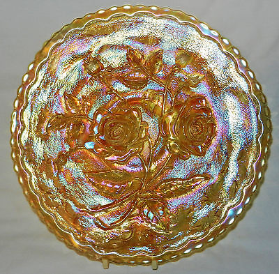 """Imperial Carnival Glass """"open Rose"""" Clambroth 9"""" Plate"""
