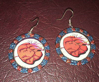 Pair Hand Painted w/ Glitter Kitschy Heart Carozon Bottle Cap EARRINGS Mexico