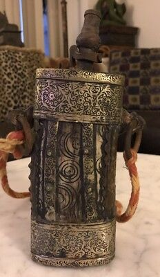 Rare Antique Ottoman Empire Rams Horn Mixed Metal Gun Powder Flask Military 18 C