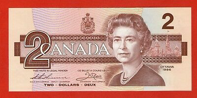 1986 $2 Bank of Canada Thiessen-Crow AUM Prefix J626 - 49.95 Ch UNC