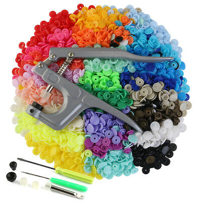 360 Sets Colourful T5 Plastic Snaps Fastener Buttons Snap Pliers Press Stud Set