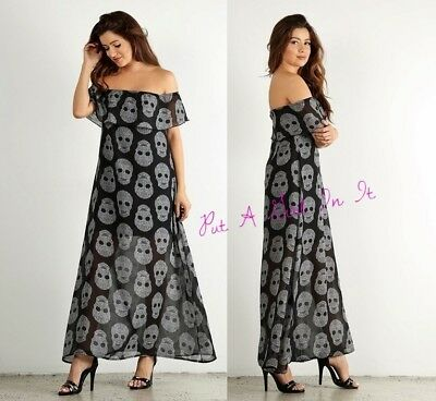 af7bcb6fe83 Plus Size Chiffon Black Skull Ruffle Off Shoulder Maxi Dress 1X 2X 3X Usa  Goth