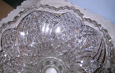 "Pressed Cut Glass Compote Dish     Vintage  7"" Tall"