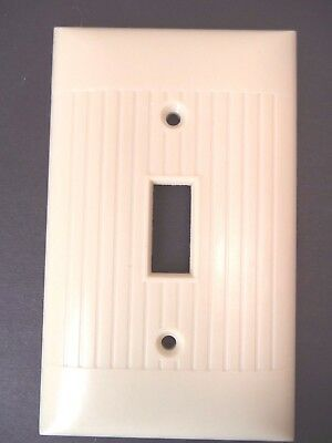 Sierra vintage mid century lines ribbed ivory single toggle switch plate cover