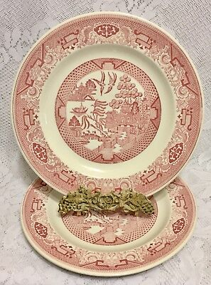 2 Royal China Pink/Red Willow Ware Dinner Plates 10""