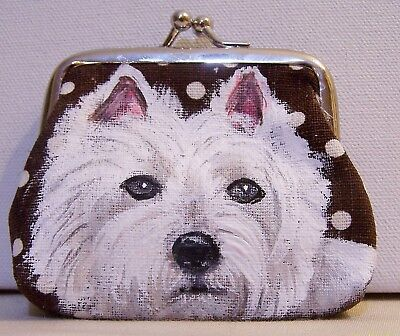 hand painted West Highlander White Terrier on canvas kiss lock coin purse gift