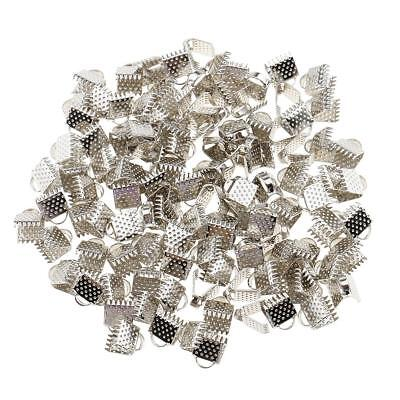 100pcs Metal Crimp End Beads Fold Over Clasps Cord End Clips 6mm White K