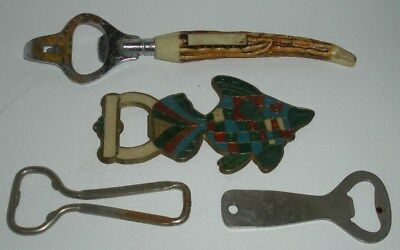 4 Vintage Beer Bottle / Can Openers (Fish is Solid Brass)