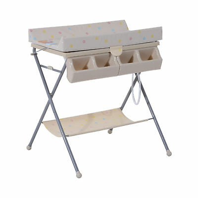 HOMCOM Baby Folding Changing Table Unit Infant Bath Station Storage Trays & Tub