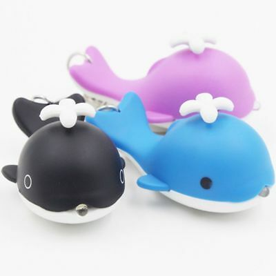 Xmas Gift 3 Colors Car Key Ring Kid Gift With Sound LED Keychain Whale Shape