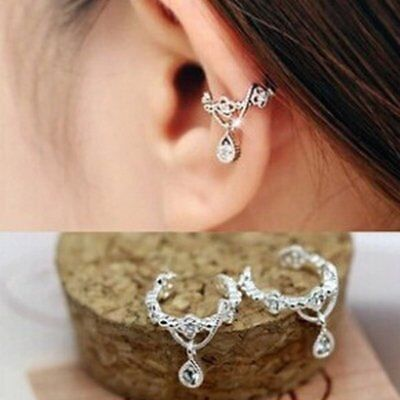 1Pc Women Fashion Ear Cuff Wrap Crystal Rhinestone Clip On Earrings Jewelry Gift