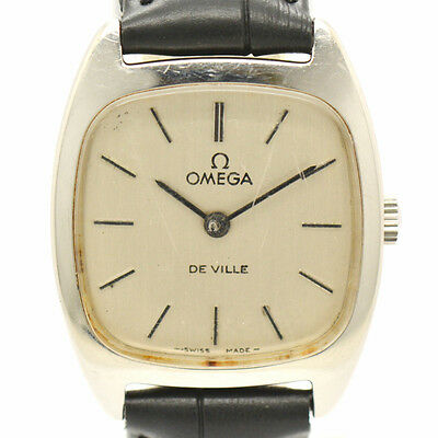 Auth OMEGA DE VILLE Silver Dial Leather Hand-winding Watch for Women A#7343