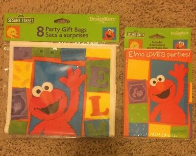 New Sesame Street Elmo Birthday Party 8 Gift Bags, Invitations, Thank You Cards