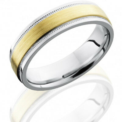 Cobalt Chrome 6mm Flat Band 3mm 14k Yellow Gold Inlay Brushed Anniversary Ring