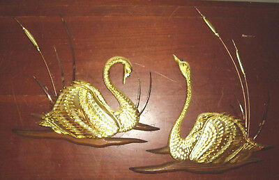 Pair Vintage Home Interior Swan Brass And Wood Wall Plaques Homco