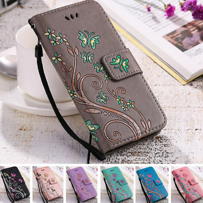 Womens Flip Leather Silicone Flower Butterfly Print Ladies Wallet Case Cover   S