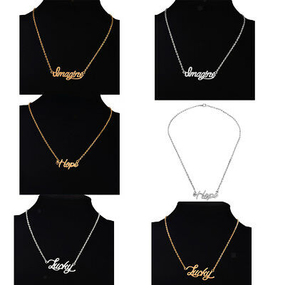 Novelty Letter Word Pendant Necklace Clavicle Choker Chain Women Girls Jewelry