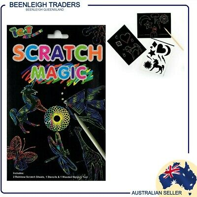SCRATCH ART PAPER, With Stencils & Tool ~ Create Your Own Colourful Works Of Art