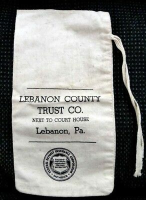 vintage LEBANON COUNTY TRUST CO CANVAS DEPOSIT BAG w/string  LEBANON PA