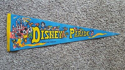 "Vintage ""Disney On Parade"" Pennant Flag Walt Disney 1970's - RARE!"
