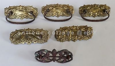antique PRESSED METAL DRAWER HANDLES PULLS brass copper bronze tin 6pc genuine