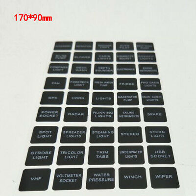 45x Rocker Switch Label Decal Circuit Fuse Panel Sticker Marine Boat Instruction