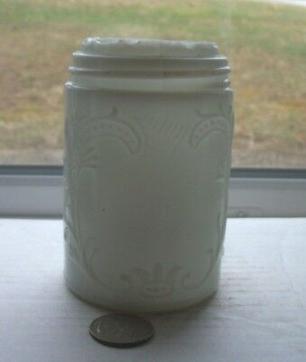 VERY NICE MILK GLASS VICTORIAN FANCY MUSTARD JAR WITH GROUNDED TOP  -1890's