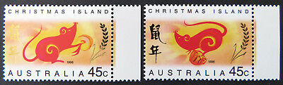 1996 Christmas Island Stamps - Lunar New Year-Year of the Rat - Set 2-Tabs MNH