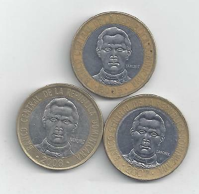 3 BI-METAL 5 PESO COINS from the DOMINICAN REPUBLIC (2005, 2007 & 2008)