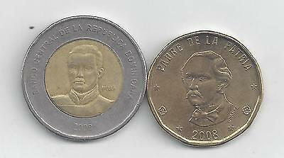 2 COINS from the DOMINICAN REPUBIC - 1 & 10 PESOS (BOTH 2008) 1 is BI-METAL