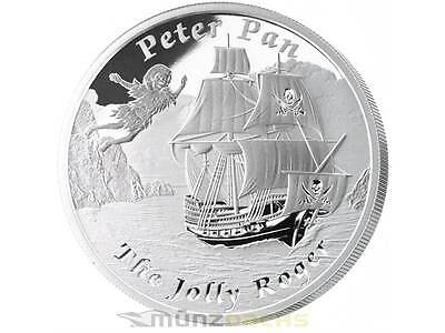 1$ Dollar Jolly Roger Peter Pan Navires Never Sailed Tuvalu Argent 1 Once 2014