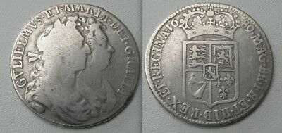 Collectable 1689 William & Mary Silver Half-Crown Coin