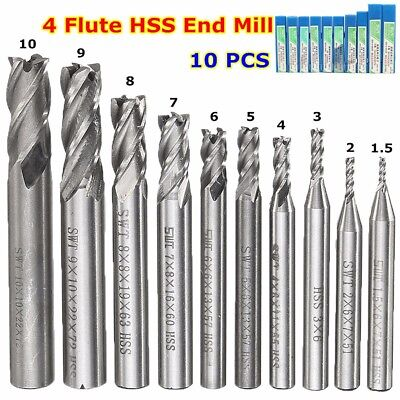 10pcs HSS Carbide 4 Flute End Mill Drill Bit Set CNC Milling Cutter 1.5-10mm