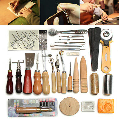 Leather Craft Tool Kit Hand Stitching Sewing Rivets Thread Awl Waxed Thimble Set
