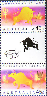 1997 Christmas Island Stamps - Lunar New Year-Year of Ox - Gutter Set of 2 MNH