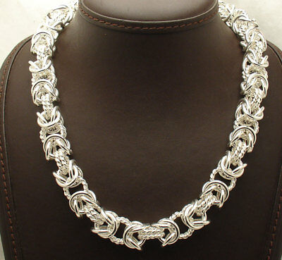 """18"""" Bold Polished Twisted Byzantine Necklace Chain Real 925 Sterling Silver"""