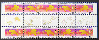 1997 Christmas Island Stamps - Lunar New Year-Year of Ox - Gutter Set 2x5TabsMNH