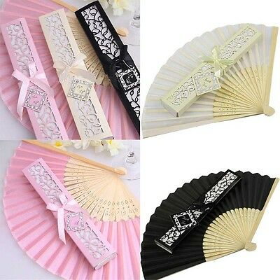 Cool Summer Folding Lace Silk Surface HAND FAN Pure For Wedding Party Gift New