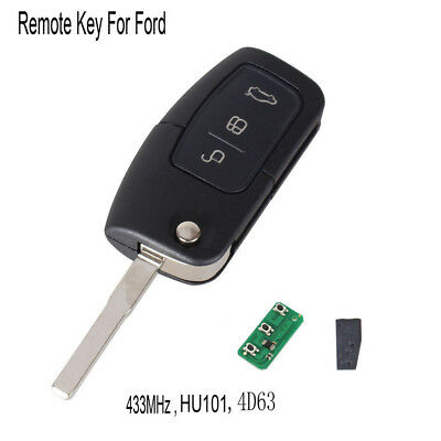 3 Button Remote Key Flip Folding For Ford Focus Fiesta C Max Ka 433MHZ 4D63 Chip